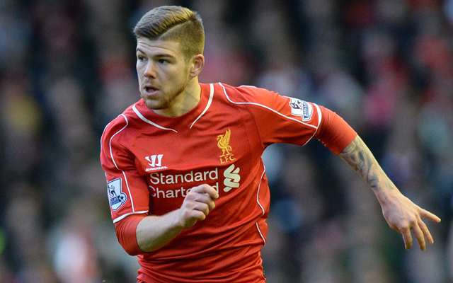 Liverpool's Spanish defender Alberto Moreno runs with the ball during the English Premier League football match between Liverpool and West Ham at Anfield stadium in Liverpool, northwest England, on January 31, 2015. AFP PHOTO / OLI SCARFF RESTRICTED TO EDITORIAL USE. NO USE WITH UNAUTHORIZED AUDIO, VIDEO, DATA, FIXTURE LISTS, CLUB/LEAGUE LOGOS OR LIVE SERVICES. ONLINE IN-MATCH USE LIMITED TO 45 IMAGES, NO VIDEO EMULATION. NO USE IN BETTING, GAMES OR SINGLE CLUB/LEAGUE/PLAYER PUBLICATIONS        (Photo credit should read OLI SCARFF/AFP/Getty Images)