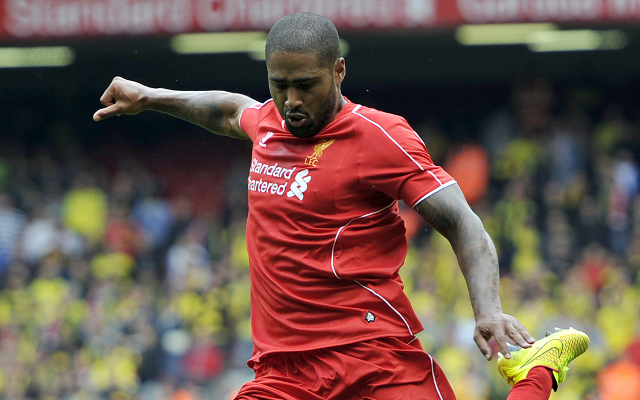 LIVERPOOL, ENGLAND - AUGUST 10:  Glen Johnson of Liverpool during the Pre Season Friendly match between Liverpool and Borussia Dortmund at Anfield on August 10, 2014 in Liverpool, England. (Photo by Clint Hughes/Getty Images)