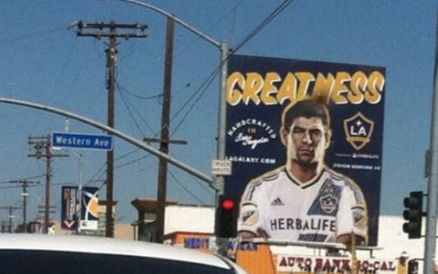 Hilarious: Liverpool legend Steven Gerrard looks MISERABLE in LA Galaxy shirt
