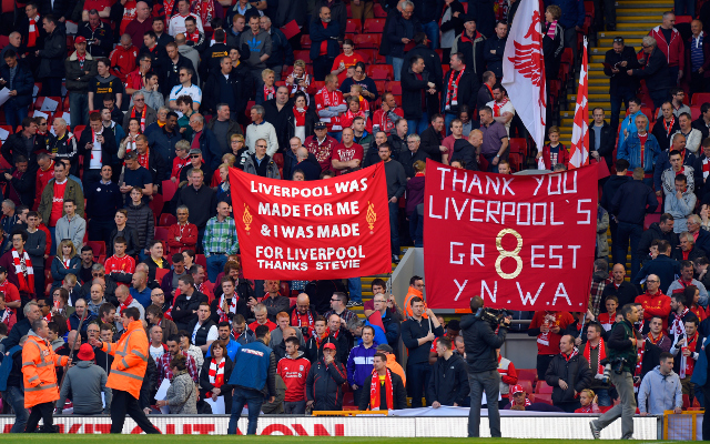 <> at Anfield on May 16, 2015 in Liverpool, England.