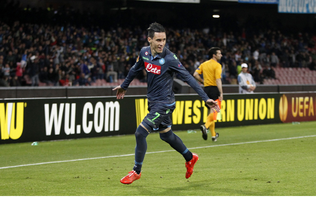 during the UEFA Europa League Round Quarter Final match between SSC Napoli and VfL Wolfsburg on April 23, 2015 in Naples, Italy.