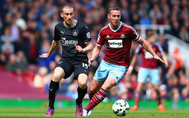 during the Barclays Premier League match between West Ham United and Burnley at the Boleyn Ground on May 2, 2015 in London, England.