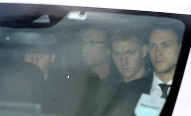 Jurgen Klopp (second left) is escorted away after arriving at John Lennon Airport, Liverpool. PRESS ASSOCIATION Photo. Picture date: Thursday October 8, 2015. See PA story SOCCER Liverpool. Photo credit should read: Peter Byrne/PA Wire.