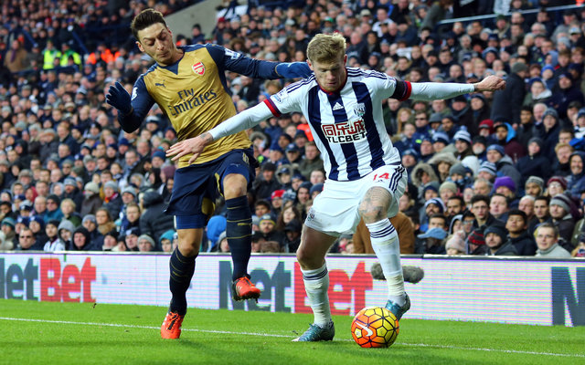West Brom winger James McClean in action against Arsenal