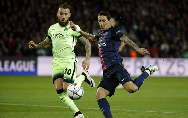 epa05246764 Angel Di Maria of Paris Saint Germain (R) vies for the ball with Nicolas Otamendi of Manchester City (L) during the UEFA Champions League quarter final first leg soccer match between Paris Saint-Germain and Manchester City FC at the Parc des Princes Stadium in Paris, France, 06 April 2016.  EPA/YOAN VALAT