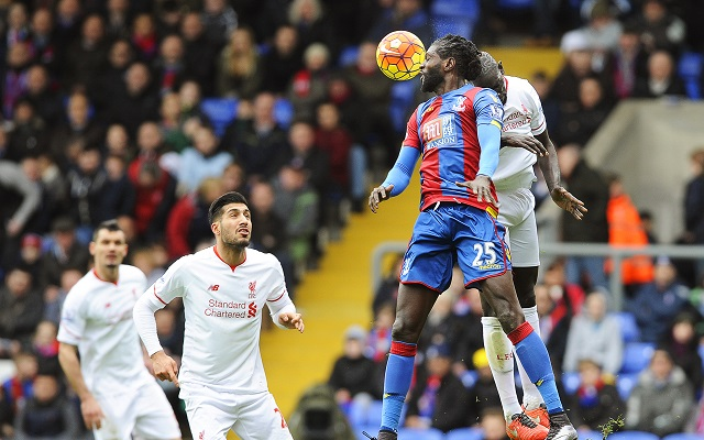 epa05197853 Crystal Palace's Emanuel Adebayor (2-R) in action against Liverpool's Mamadou Sakho (R) during the English Premier League soccer match between Crystal Palace and Liverpool FC in London, Britain, 06 March 2016.  EPA/GERRY PENNY   EDITORIAL USE ONLY. No use with unauthorized audio, video, data, fixture lists, club/league logos or 'live' services. Online in-match use limited to 75 images, no video emulation. No use in betting, games or single club/league/player publications.