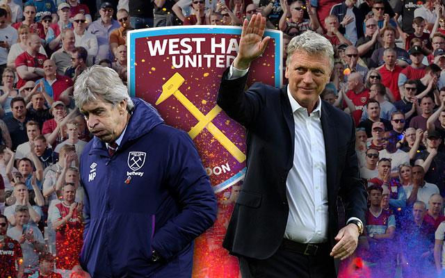 David Moyes and Manuel Pellegrini in Front of West Ham United Logo