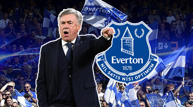 Carlo Ancelotti and Everton Logo