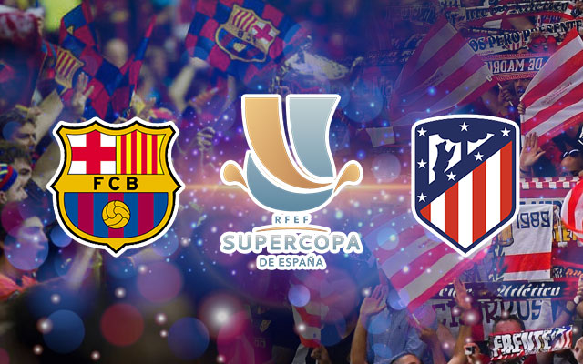 Barcelona and Atletico Madrid Logos for the RFEF Supercopa De Espana