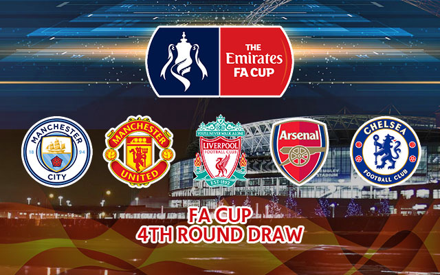 Manchester City, Manchester United, Liverpool, Arsenal and Chelsea Logos The Emirates FA Cup