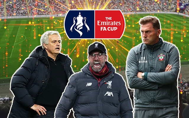 Jose Mourinho, Jürgen Klopp and Ralph Hasenhuttll The Emirates FA Cup
