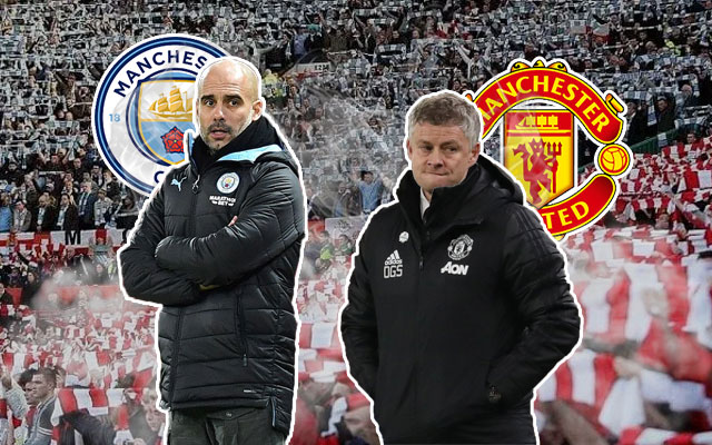Pep Guardiola and Ole Gunnar Solskjaer Manchester City vs Manchester United