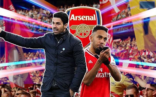 Pierre-Emerick Aubameyang and Mikel Arteta Arsenal