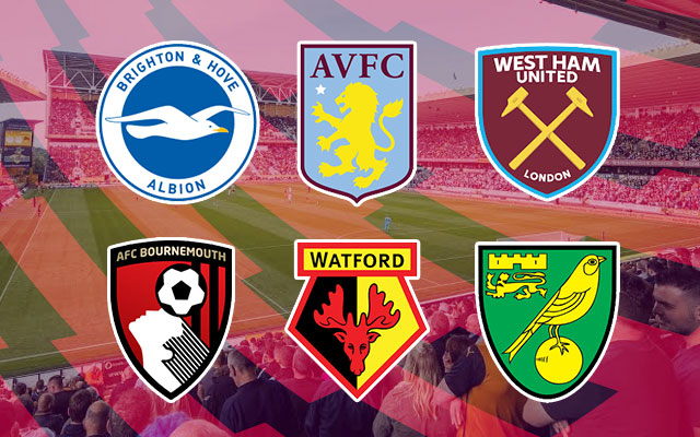 Brighton & Hove Albion, Aston Villa, West Ham United, AFC Bournemouth, Watford and Norwich City Logos