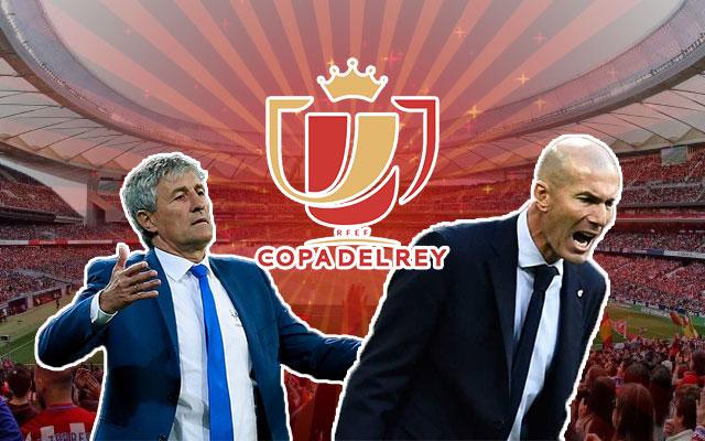 Quique Setién and Zinedine Zidane Copa Del Rey Logo