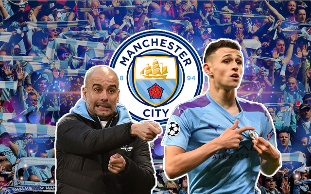 Pep Guardiola and Phil Foden Manchester City Logo